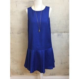 Kensie Blue Drop Waist Pleated Blue Mini Dress